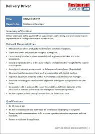 Restaurant Owner Job Description For Resume Delivery Driver Job Description Free Resume Samples For