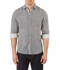 report collection long sleeve enzyme wash linen solid sport shirt in c