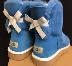 s ugg australia mini bailey bow boots ugg australia mini bailey bow weave blue corn suede sheepskin