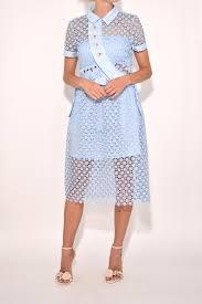 self portrait daisy button midi dress in baby blue in blue lyst