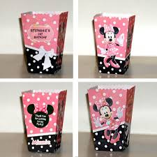 polka dot gift boxes minnie mouse pink polka dots popcorn favor boxes set of 10