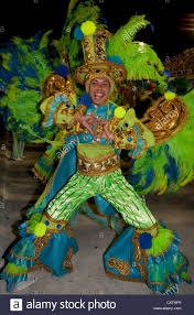 carnival brazil costumes in green costume during carnival parade de janeiro brazil