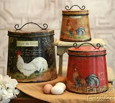 rooster kitchen canisters cottage rooster canister set shabby country chic tin tuscan