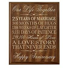 25th wedding anniversary gifts 25th wedding anniversary wall plaque gifts for