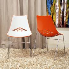 White Plastic Dining Chairs by Jupiter White And Orange Plastic Modern Dining Chairs Set Of 2