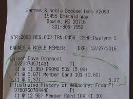 receipt for ornament on sale 50 while barnes noble charged