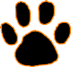 black tiger paw print with orange outline clip at clker com