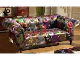 Chesterfield Patchwork Sofa Scroll Luxury 2 Seater Chesterfield Fabric Patchwork Sofa