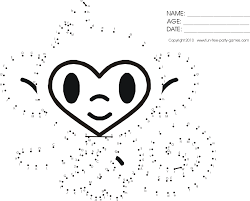 connect the dots activity cartoon monkey staring by fun free