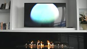 television and ethanol burner insert an afire modern decoration idea