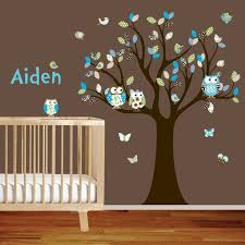 Wall Nursery Decals Personal Name Nursery Wall Decals For Baby Boy Colorful Trees