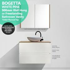 bogetta 900mm white pine timber wood grain vanity with white oak