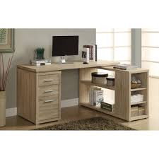 monarch l shaped desk with storage drawers dark taupe decorative