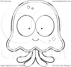 cartoon clipart of a black and white jellyfish character vector