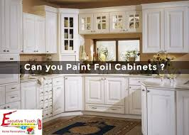can thermofoil kitchen cabinets be painted can you paint foil cabinets executive touch painters