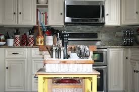 diy mini kitchen island yellow nowathomemom idolza
