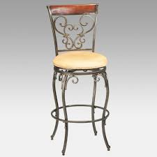 Wood Swivel Bar Stool Furniture Wrought Iron Swivel Bar Stool With Carved Back And