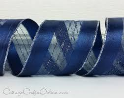 navy blue wired ribbon steel blue ribbon etsy