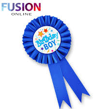 birthday ribbon happy birthday boys badge badge rosette blue pink deluxe