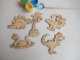 5 wooden dinosaurs cutouts for kids and coloring wooden