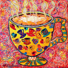 cafe latte coffee cup with colorful coffee cups some pink and