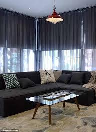 Black Sheer Curtains Combinación De Estores Enrollables Black Out Y Cortinas En La Sala