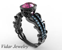 sapphire wedding rings images Black gold pink sapphire engagement ring vidar jewelry unique jpg