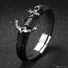 anchor bracelet black leather images Stainless steel vintage anchor bracelet for him nautical anchor jpg