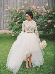 two wedding dresses buy fancy two sleeves hi low organza wedding dress lace