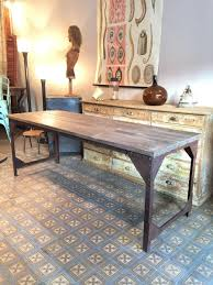 wood and metal writing desk french industrial wood metal dining table for sale at pamono