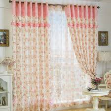 Pink Flower Curtains Country Little Flower Printed Lace Thermal Curtains In Pearl Pink