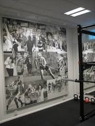 basement gym room wall decor improvement by sport theme decal