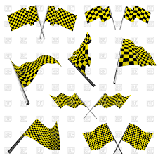Black And Yellow Flag Yellow And Black Checkered Racing Flags Set Royalty Free Vector