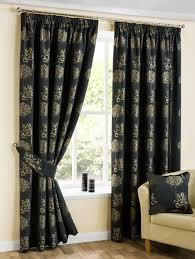 Black Gold Curtains Luxury Stylish Arden Black Gold Floral Design Pencil Pleat