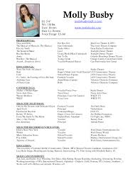 Youth Resume Sample by Transform Performing Arts Resume Samples In Performing Arts Resume