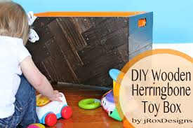 How To Make A Wood Toy Box by Diy Wooden Herringbone Toy Box Jroxdesigns