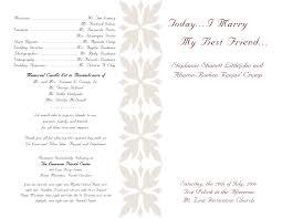 wedding reception program wording wedding wedding program exles withayout for