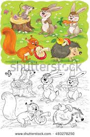 cute woodland animals forest elements isolated stock illustration