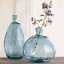 Turquoise Glass Vase Recycled Glass Balloon Vases Smoky Blues Collection Vivaterra