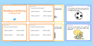 and halving challenge cards double math numeracy