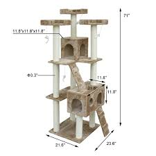 pawhut 71 inch cat tree furniture pet tower house with scratch