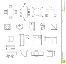 furniture linear vector symbols floor plan icons stock vector