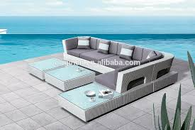Outdoor Rattan Corner Sofa Curved Modern Hotel Outdoor Rattan Corner Sofa With Ottoman And