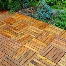 acacia wood 6 slat interlocking deck tiles 10 count world market
