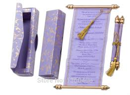 Scroll Invitation Royal Purple Floral Wedding Invitations Scroll Party Card Convite