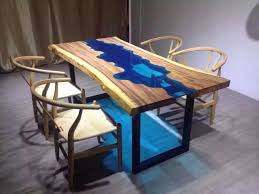 Dining Table Natural Wood Custom Made Acacia Live Edge River Wood And Glass Dining Table