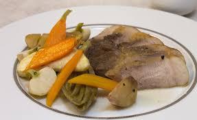 cuisiner rouelle de porc recette de rouelle de porc et légumes rôtis par alain ducasse