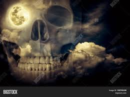 halloween horizontal background halloween horror background double exposure of human skull
