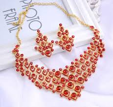 gold plated statement necklace images 2018 ruby glass stone gold plated necklace earring set women jpg