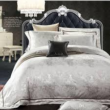 Jacquard Bedding Sets European Style White Jacquard Silk Cotton Bedding Sets King
